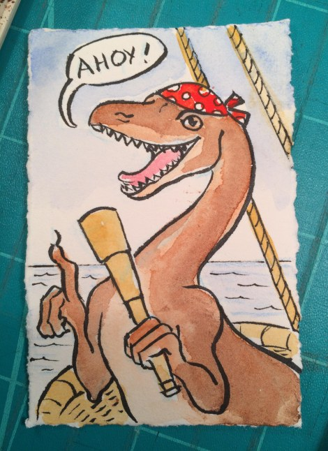 Ahoy and Arrrr! Dinosaur pirates are the best!