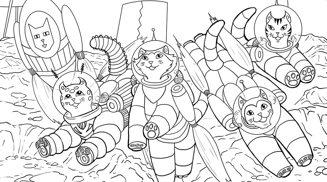 Quadra Cats Colouring Page!